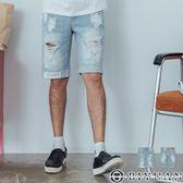 【OBIYUAN】短褲 水洗 刷色 刷破造型 印花 牛仔短褲 共1色【P7060】