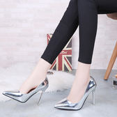 2018韓版春季尖頭超高跟鞋性感細跟夜店淺口鏡面單鞋百搭銀色女鞋  良品鋪子