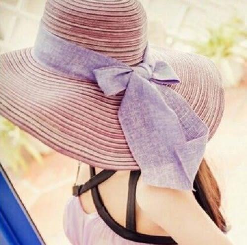 Qmigirl 夏款棉線防曬遮陽帽蝴蝶結大簷草帽可折疊沙灘帽【QG2029】