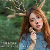 圣誕節新品森林系麋鹿角發箍森女風頭箍毛絨小鹿耳朵diy頭飾定制