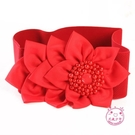 腰封 黑色連衣裙鬆緊女士紅色時尚花朵裝飾...