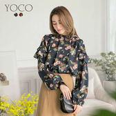 東京著衣【YOCO】復古甜心肩袖荷葉領印花上衣-S.M.L(172415)
