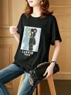 上衣大碼L-4XL黑色小熊t恤女夏裝歐洲站女裝寬松顯瘦短款上衣潮D303依佳衣
