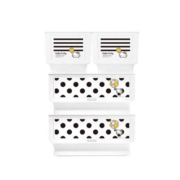 收納櫃 收納【R0197】Kitty黑點點款白底+黑條紋白底大嘴鳥整理箱(混裝) MIT台灣製 樹德 收納專科