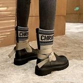 中筒靴 毛線口馬丁靴女2020厚底顯瘦飛織襪子靴女英倫風中筒靴交叉綁帶女 俏girl