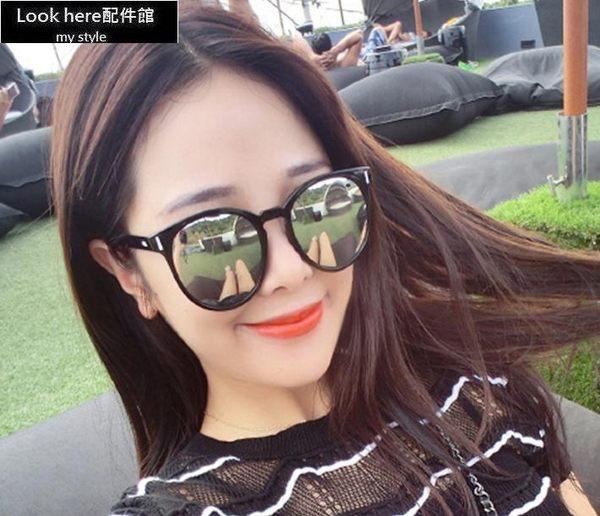 2016新款韓版圓框墨鏡 復古鉚釘造型太陽眼鏡 造型裸空鏡腿 遮陽反光太陽鏡 太陽的後裔宋仲基