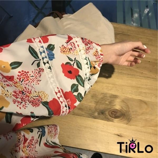 棉麻上衣 -Tirlo-浪漫花花蕾絲前短後長上衣-一色(現+追加預計5-7工作天出貨)