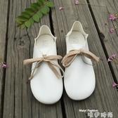 娃娃鞋春秋新款森系圓頭小白鞋平底兩穿娃娃鞋休閒文藝版學生鞋女單鞋潮 交換禮物