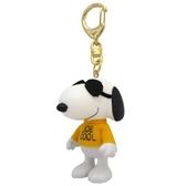 〔小禮堂〕史努比 全身造型塑膠鑰匙圈《白黃.戴墨鏡》掛飾.吊飾.鎖圈 4958185-01450