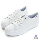 Keds 新竹皇家 TRIPLE KICK LTHR  白色 厚底3.5CM 皮質 休閒鞋 女款 NO.I7766