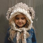 兒童帽子日韓時尚羊羔造型手工針織毛線披風帽男女童冬天戶外保暖-凡屋