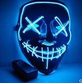 萬聖節LED面具黑色鬼臉同款道具熒光V字恐怖10色爆閃發光面具 嬡孕哺