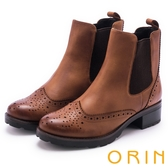ORIN 經典復古 牛皮雕花彈力鬆緊中跟短靴-棕色