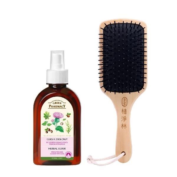 【南紡購物中心】Green Pharmacy草本肌曜 強健頭皮護理水250ml+贈 木柄髮梳