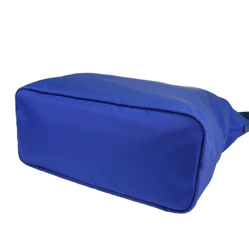 PRADA 經典尼龍三角LOGO肩背斜背包購物包(寶藍)