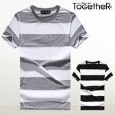 ToGetheR+【J6407】寬版條紋落肩圓領棉質短袖上衣(二色)