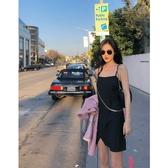 大心kissis 小黑裙連衣裙女赫本風短裙吊帶裙顯瘦開叉黑色裙子夏 瑪麗蘇