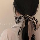 時髦高級感千鳥格細長條窄絲巾法式復古優雅小香風飄帶綁發帶 快速出貨
