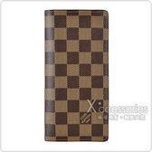 LV N61064 BRAZZA棋盤格DAMIER  EBENE帆布8卡直立對折長夾(黑)