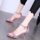 法式仙女風一字帶高跟涼鞋女2021年夏季新款配裙子網紅細跟高跟鞋