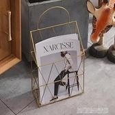 北歐鐵藝簡約金屬報刊架可懸掛書報架雜志架落地小書架收納架YDL