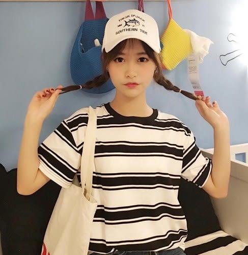 EASON SHOP(GU5798)黑白粗細條紋設計超好穿圓領短袖T恤彈力內搭衫女上衣服素色白棉T春夏裝韓版寬鬆
