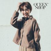 Queen Shop【02071229】短版毛呢襯衫外套 兩色售*現+預*
