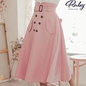 裙子 露比設計‧拼接側百褶排扣長裙-Ruby s 露比午茶