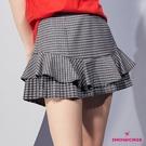 【SHOWCASE】格紋百褶襬拼接荷葉邊俏麗短裙(黑)