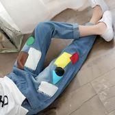 【新年鉅惠】女童夏款韓版小女孩夏裝新款中童小學生長褲補丁寬鬆兒童牛仔褲潮