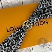 BRAND楓月 LOUIS VUITTON LV MP2909 LV1854 原花 藍灰色 金釦 絲巾 圍巾 頭巾
