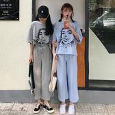 休閒運動套裝女裝夏裝正韓原宿卡通半袖T恤 寬鬆闊腿褲兩件套學生