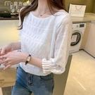 七分袖上衣白色雪紡衫女21春夏季新款遮肚子時尚洋氣小衫顯瘦七分短袖上衣 快速出貨