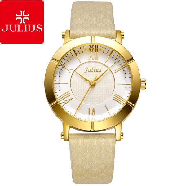 JULIUS 聚利時 華麗冒險立體鏡面設計腕錶-杏色/33mm 【JA-789B】