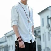 中國風男裝七分袖盤扣上衣亞麻襯衫立領民族風中袖半袖唐裝棉麻衣