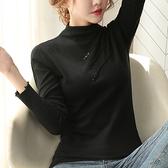 上衣 長袖T恤女裝半高領毛衣打底針織衫彈力修身女士H412-A 皇潮天下