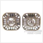 CHANEL 雙C LOGO方形設計鑽鑲飾夾式耳環(銀)