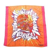 HERMES 愛馬仕 橘/Rose VIF玫瑰粉/紫塗鴉藝術絲質方巾 Gavroche 45 Graff
