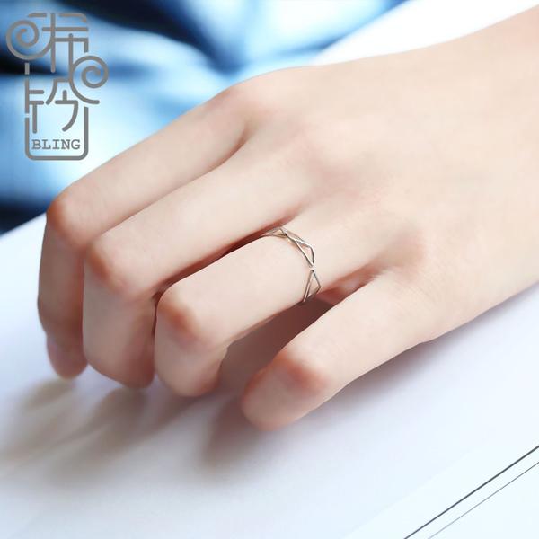 店長推薦 bling手作潮人日韓個性學生食指戒指女細款純銀韓國開口銀戒指