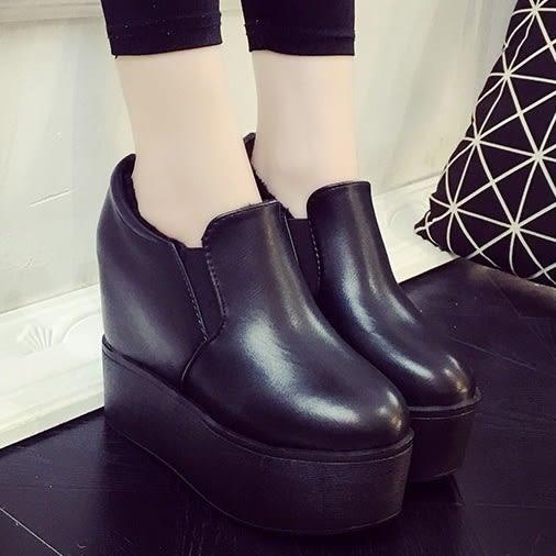DE shop~百搭厚底鬆糕鞋休閒超高跟內增高踝靴 - CC-2999