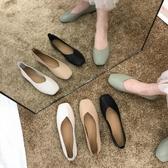 豆豆鞋女新款秋鞋單鞋百搭春秋平底網紅淺口黑色上班工作鞋女