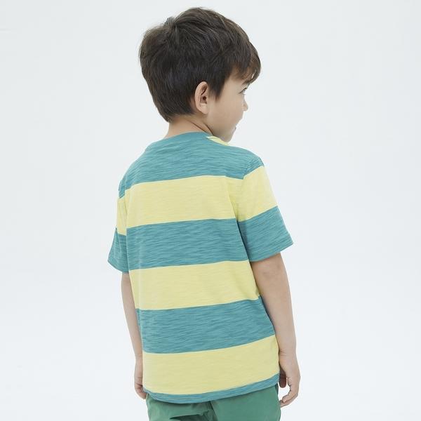 Gap男童 活力純棉條紋短袖T恤 689259-黃綠條紋