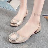 夏季時尚平跟方扣水鑽孕婦單鞋LK395『毛菇小象』