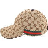 GUCCI Original GG 雙G緹花帆布棒球帽(咖棕色) 1820516-07