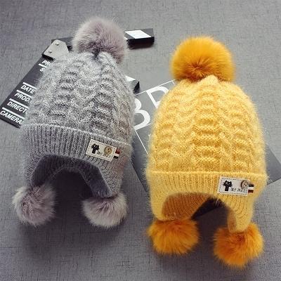冬季兒童加絨護耳毛線帽子韓版1男童毛球帽子女童帽 萬客居