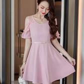美之札[98668-QF]中大尺碼*優雅甜美氣質透視荷葉短袖A字裙襬顯瘦洋裝