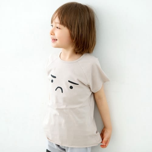 Korea Imports 正韓 苦臉卡其短袖上衣 / 灰色大點短褲 2件組 Gloomy Loungewear