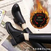 馬丁靴女鞋中跟2018冬季新款韓版百搭粗跟女靴英倫冬鞋加絨短靴潮 漾美眉韓衣