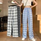 高腰格子褲女寬鬆直筒褲秋季2020新款休閒褲顯瘦褲子拖地褲闊腿褲