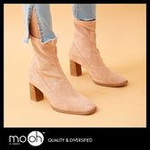 粗跟靴 麂皮絨面粗跟拉鍊方頭彈力踝靴 短靴  mo.oh(歐美鞋款) 限量
